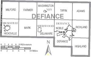 Map of Defiance County Ohio With Municipal and Township Labels