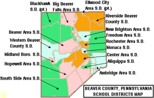 Map of Beaver County Pennsylvania School Districts