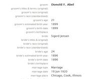 Abel Jensen 1920 marriage