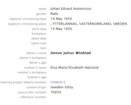 Winblad-Anton 1856 birth index