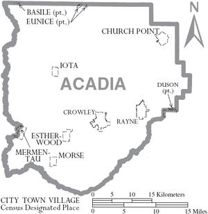 Map of Acadia Parish Louisiana With Municipal Labels