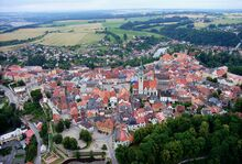 Tabor CZ aerial old town from north B1