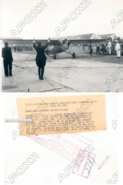 Aviator Eddie Schneider lands Cessna monoplane at Roosevelt Field on August 25, 1930 (front and back of image)