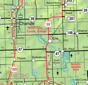 Map of Neosho Co, Ks, USA