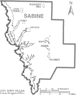 Map of Sabine Parish Louisiana With Municipal Labels