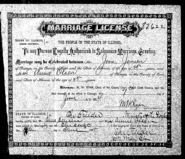 Jensen-Olsen 1884 marriage