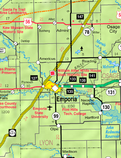 Map of Lyon Co, Ks, USA