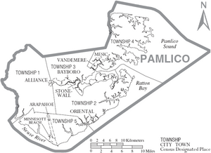 Map of Pamlico County North Carolina With Municipal and Township Labels