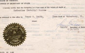 Death Cert Kath Morrow