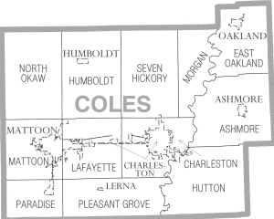 Map of Coles County Illinois