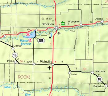 Map of Rooks Co, Ks, USA