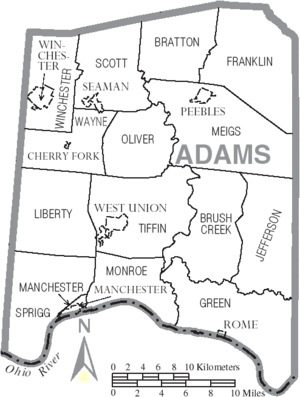 Map of Adams County Ohio With Municipal and Township Labels