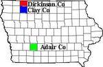 Adair, Dickinson, and Clay Co IA