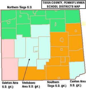 Map of Tioga County Pennsylvania School Districts