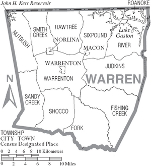 Map of Warren County North Carolina With Municipal and Township Labels