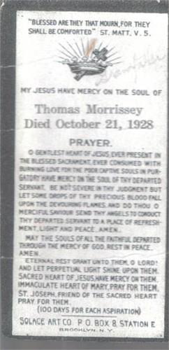 Morrissey-Thomas 1928 funeral card
