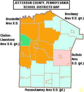 Map of Jefferson County Pennsylvania School Districts