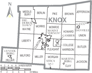 Map of Knox County Ohio With Municipal and Township Labels