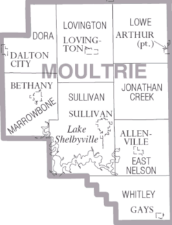 Map of Moultrie County Illinois