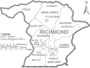 Map of Richmond County North Carolina With Municipal and Township Labels