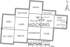 Map of Hocking County Ohio With Municipal and Township Labels