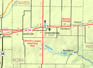 Map of Kiowa Co, Ks, USA