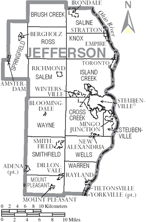 Map of Jefferson County Ohio With Municipal and Township Labels