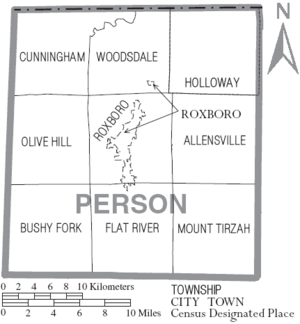Map of Person County North Carolina With Municipal and Township Labels
