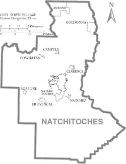 Map of Natchitoches Parish Louisiana With Municipal Labels