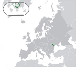 Location of Moldova (green) on the European continent (green + dark grey)