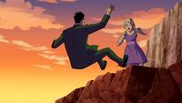 Annie knocks Rex off a cliff
