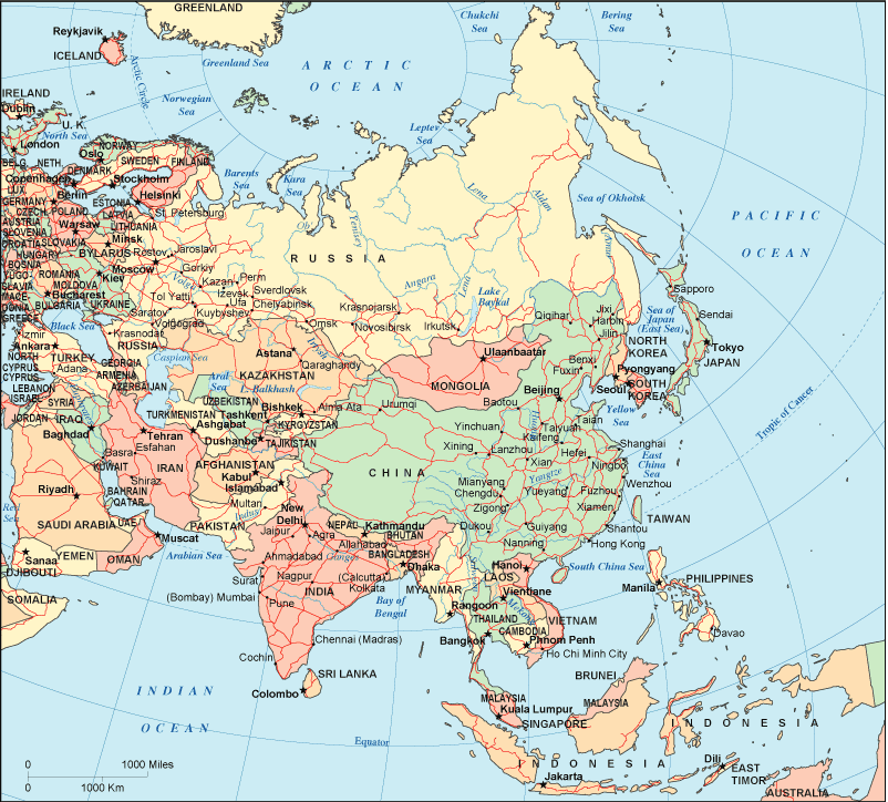 Asia Global Geography – Global Map of Asia