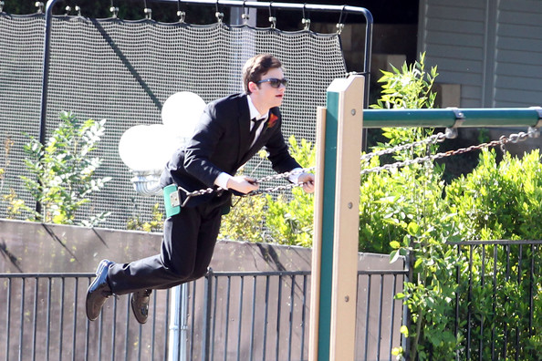 File:Chris Colfer on set.jpg