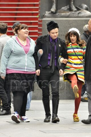 File:Ashley chris and lea - filming glee in nyc.jpg
