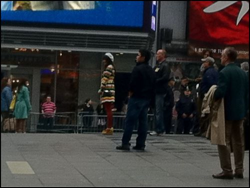 File:Lea Michele filming in NYC Times Square.JPG
