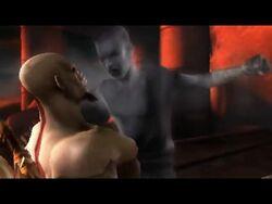 Kratos levando porrada