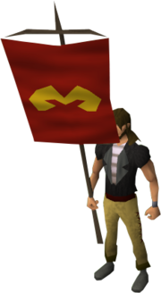 Zamorak heraldic banner equipped