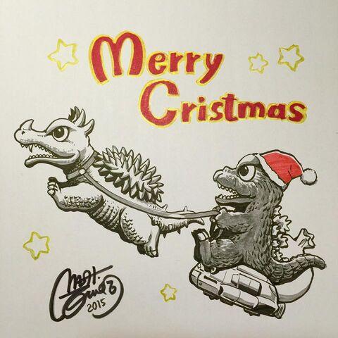File:Godzilla Christmas Artwork by Shinji Nishikawa.jpg