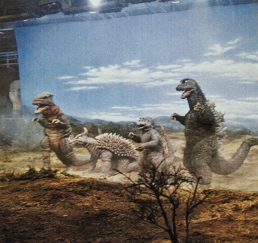 File:DAM - Godzilla, Minilla, Anguirus and Gorosaurus On Set.jpg