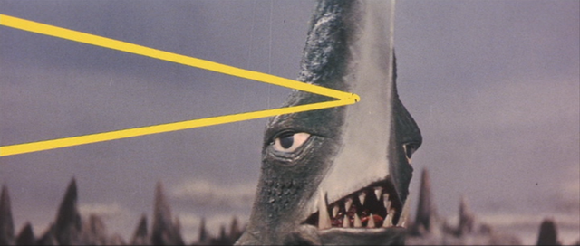File:Gamera - 5 - vs Guiron - 10 - Space Gyaos Fires A Beam and Guiron Reflects It With His Blade-for-a-face.png