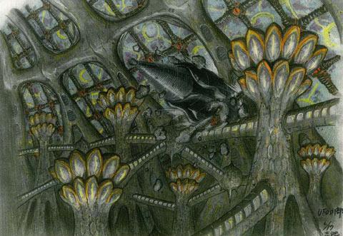 File:Concept Art - Godzilla Final Wars - Gotengo vs. Xilien Mothership 2.png