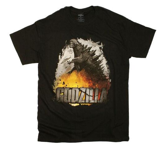 File:Godzilla 2014 Godzilla The Movie Rock Destruction Fire Retro T-Shirt.jpg