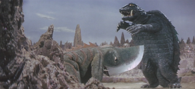 File:Gamera - 5 - vs Guiron - 36 - Guiron was going to cut Gamera but Gamera dodges it by jumping.png