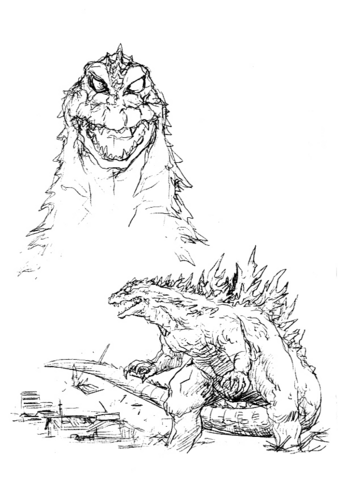 File:Concept Art - Godzilla 2000 Millennium - Godzilla 24.png