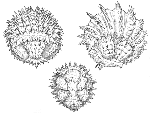 File:Concept Art - Godzilla Final Wars - Anguirus 2 Rolled Up.png