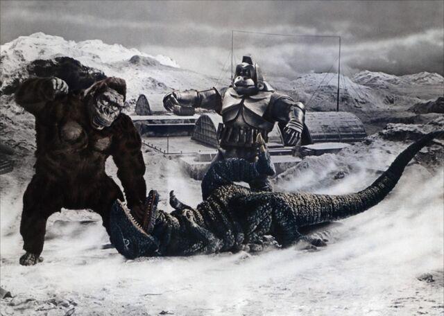 File:King Kong Escapes Art featuring King Kong Mechani-Kong and Gorosaurus.jpg