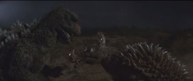 File:Godzilla plans his next attack with Anguirus..jpg