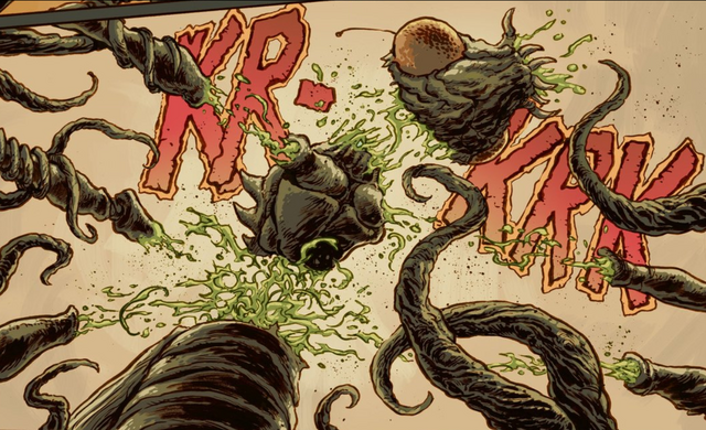 File:Godzilla Cataclysm Issue 1 - Kamacuras is ripped apart by Biollante.png