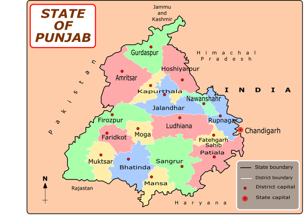 Punjab district map