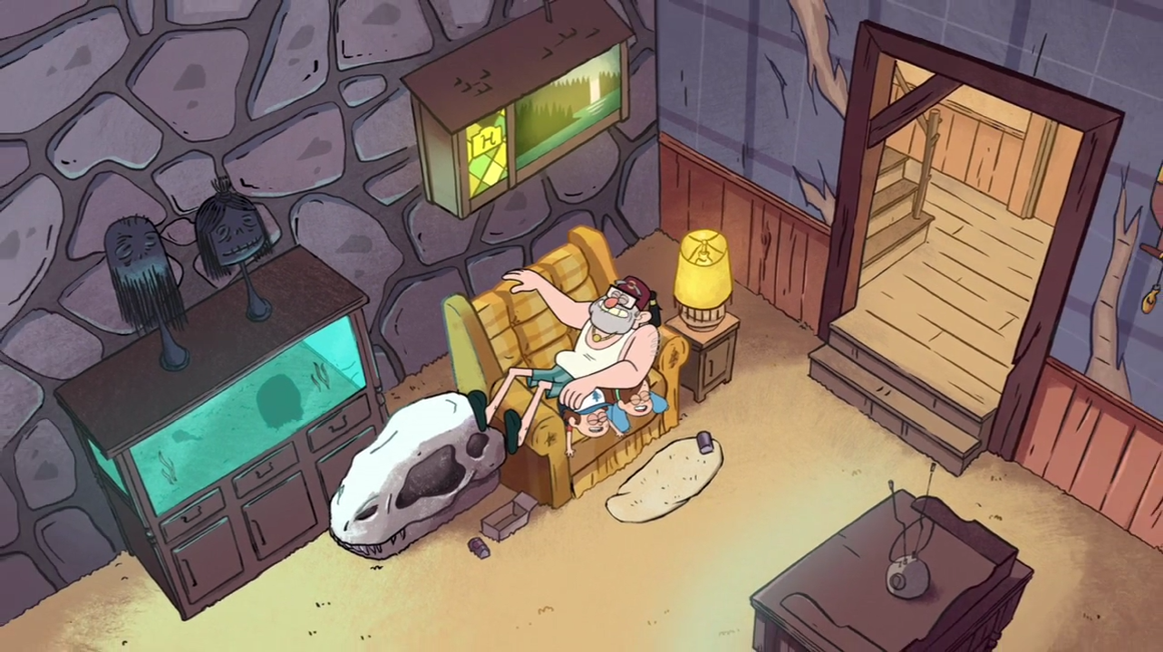 Image s1e4 overhead living gravity falls wiki for Living room 4 pics 1 word